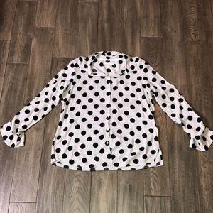 Foxcroft White and black polka-dot top